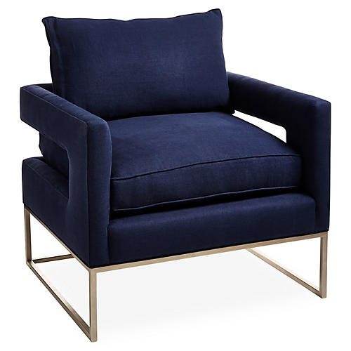 Bevin Chair, Indigo Linen