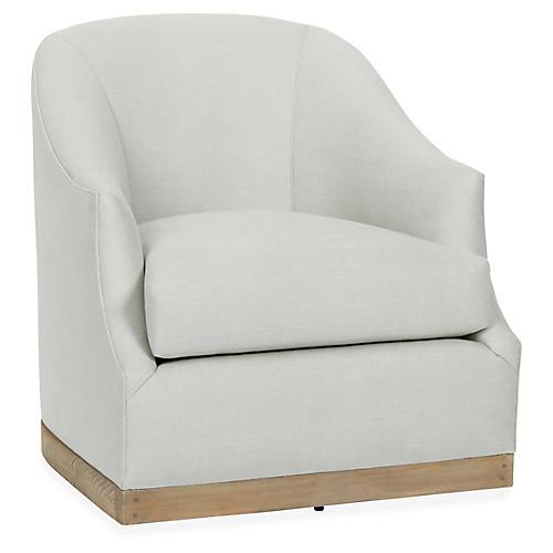 Brooke Swivel Chair, Sea Glass Linen