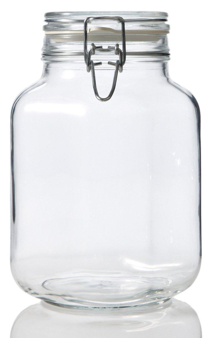 S/3 Fido Square Clear Jars, 67.75 Oz