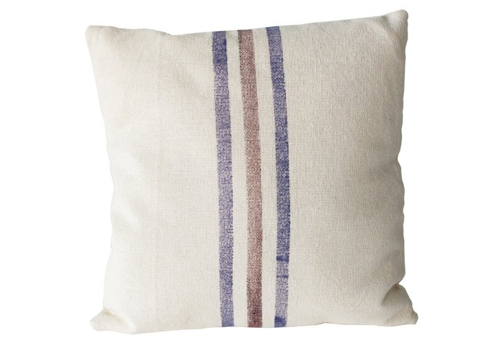 Blue & Red Canvas Pillow, Small
