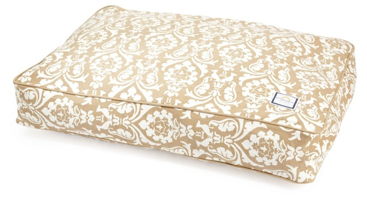 Damask Pet Bed, Tan/Cream