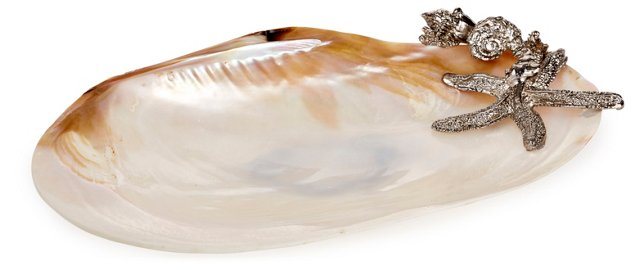 "10"" Mother-of-Pearl Dish w/ Starfish"