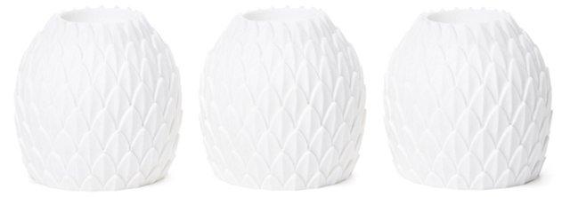 S/3 Sandstone Pineapple Votives, White