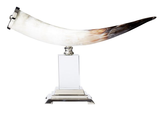 "58"" Horn on Pedestal, Brown/Silver"