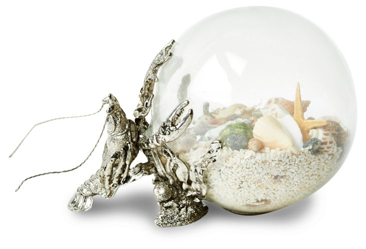 "8"" Glass Orb with Lobster, Silver"