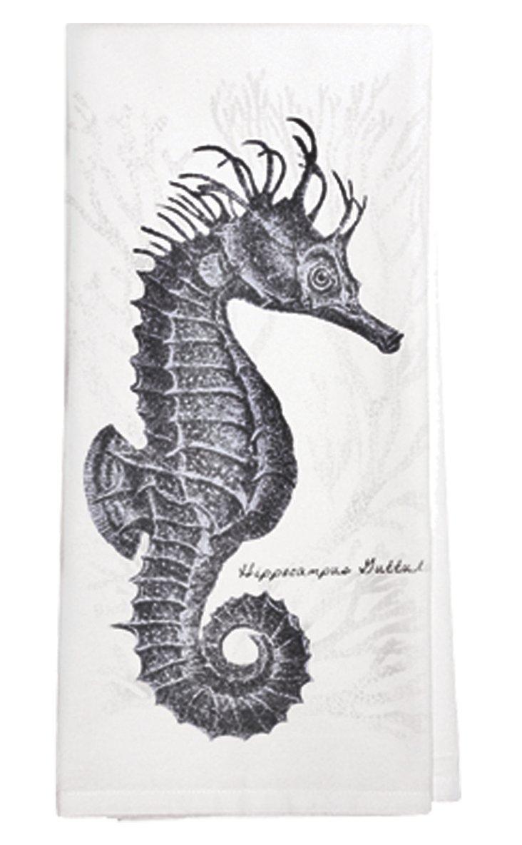 S/3 Seahorse Tea Towels, Black