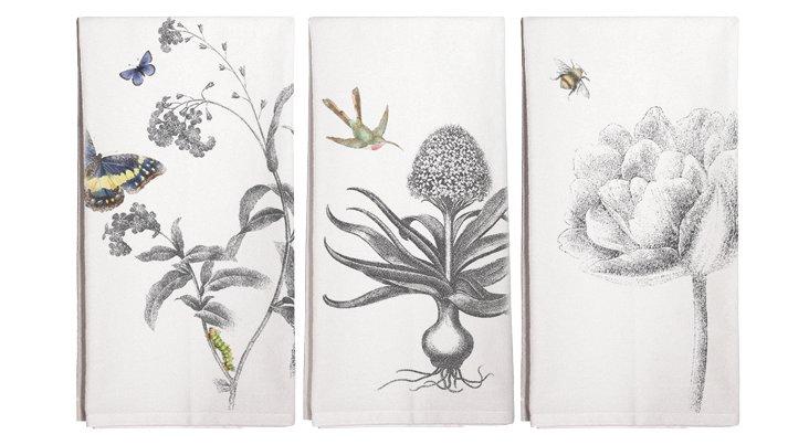 S/3 Assorted Spring Tea Towels