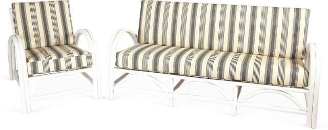 White Bentwood Sofa & Chair