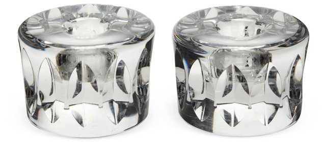 Orrefors Cut-Crystal Candleholders, Pair