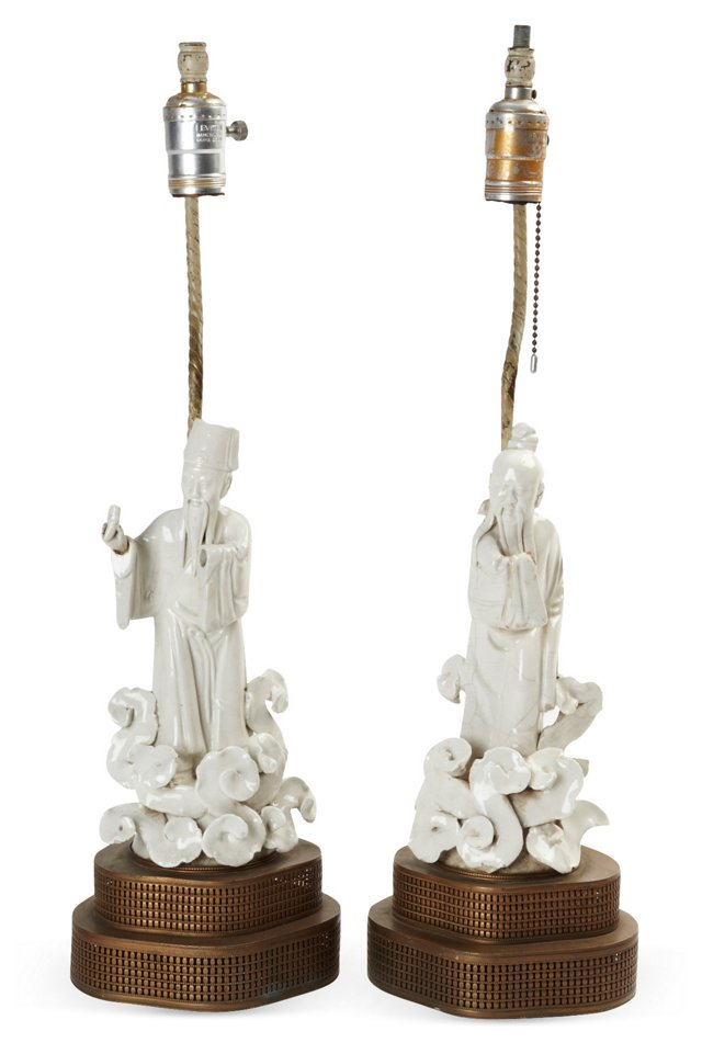 Chinese Figure Lamps, Pair