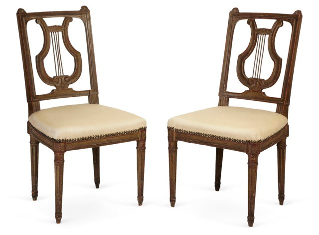 Antique Swedish Lyre-Back Chairs, Pair