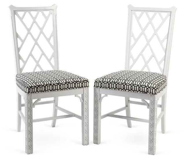 Chinese Chippendale-Style Chairs, Pair