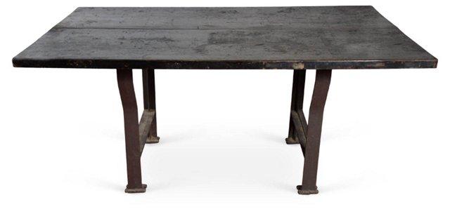Large Vintage Industrial Work Table