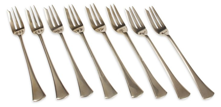 German Silver Shrimp Forks, Set of 8