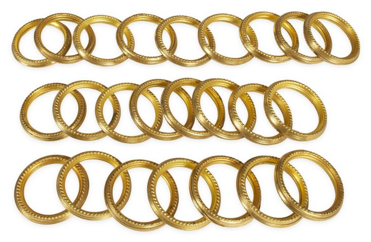 Vintage Brass Curtain Rings, 24 Pcs.