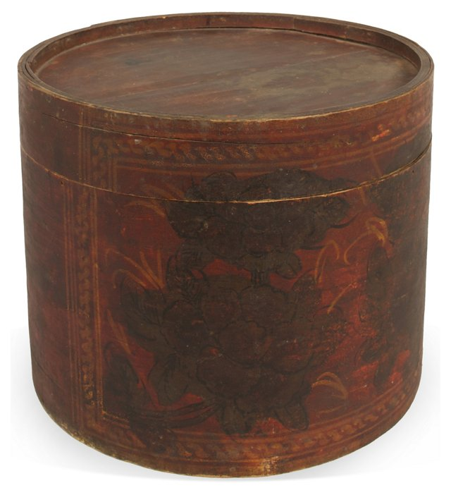 19th-C. Painted Bentwood Box