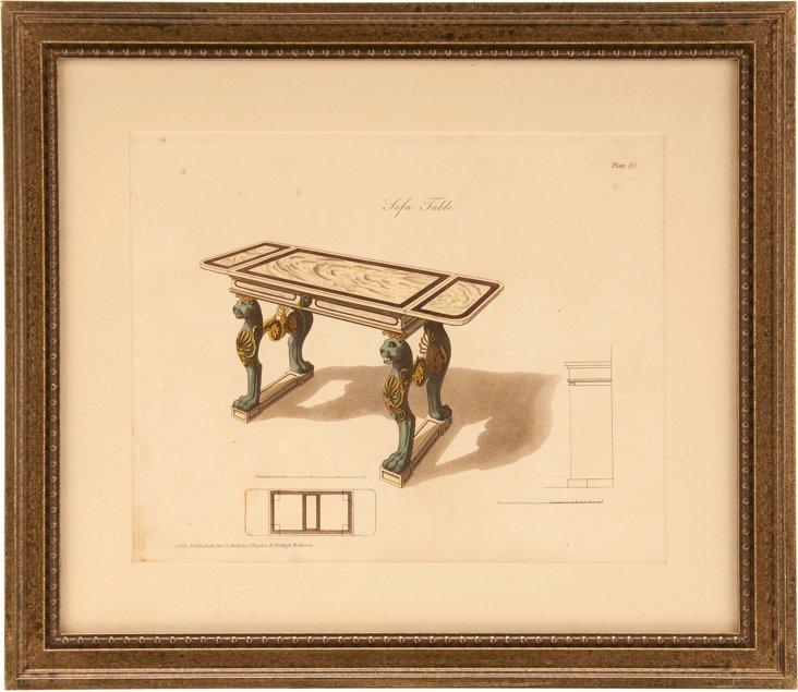 Sofa Table Engraving I