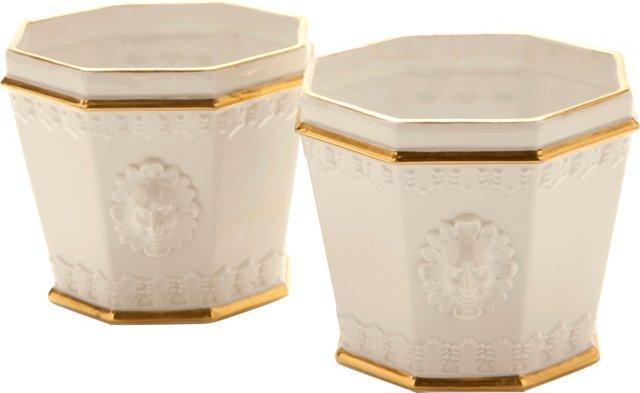 Portuguese Porcelain Cachepots, Pair