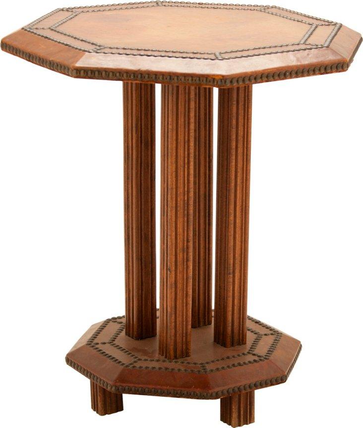 Leather-Top Table w/ Nailhead Trim