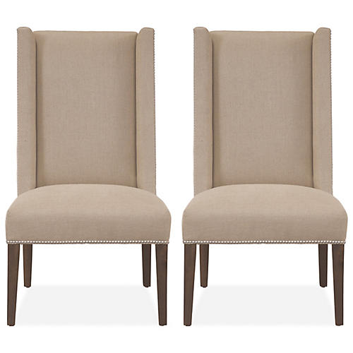 Khaki Monterey Linen Side Chairs, Pair