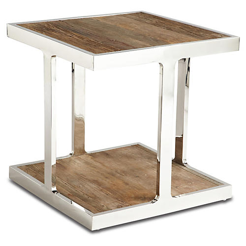 Barnes Side Table, Cerused Natural