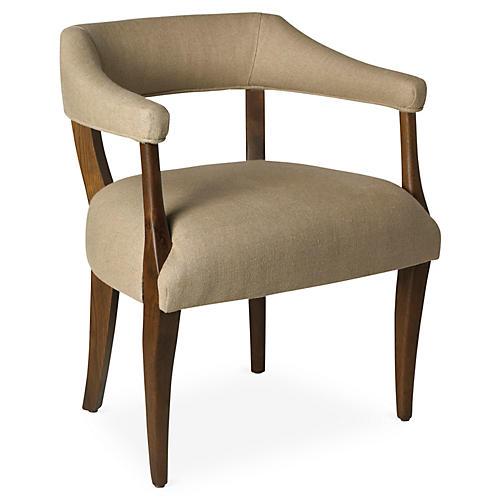 Molly Linen Chair, Sepia