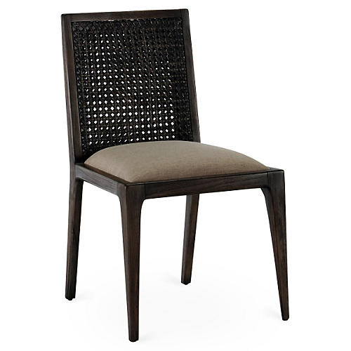 Messina Caned Side Chair, Dark Brown