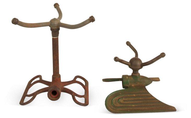 Art Deco Iron Lawn Sprinklers, Set of 2