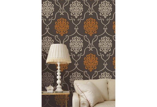 Vogue Damask, Orange/Gray