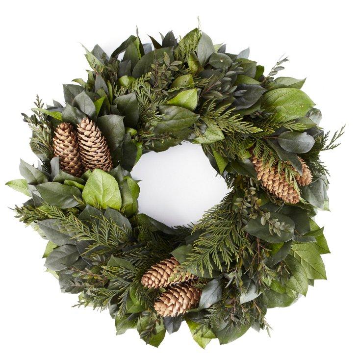 "24"" Salal, Boxwood Cedar, Cones Wreath"