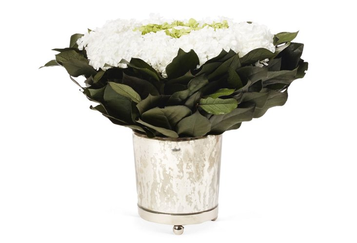 Roses, Hydrangea & Basil in Container