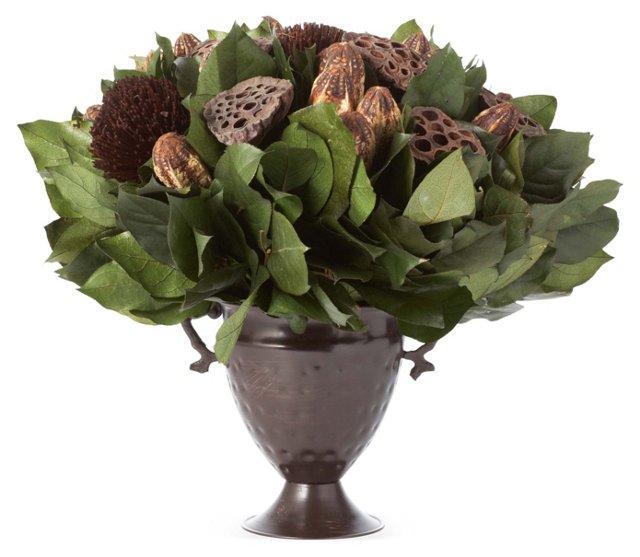 Pods & Salal in Trophy Vase, Preserved