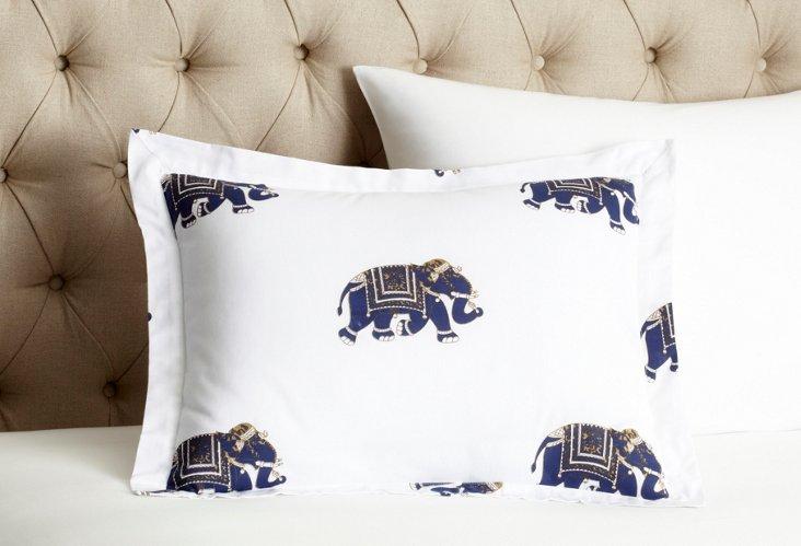 Elephant Mela 16x20 Pillow Cover, Indigo