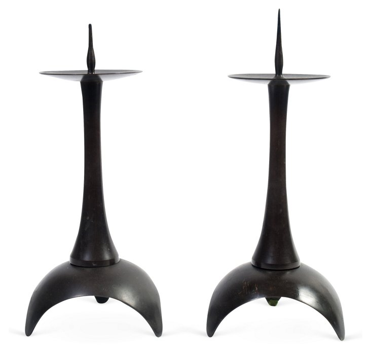 Bronze Candle Prickets, Pair
