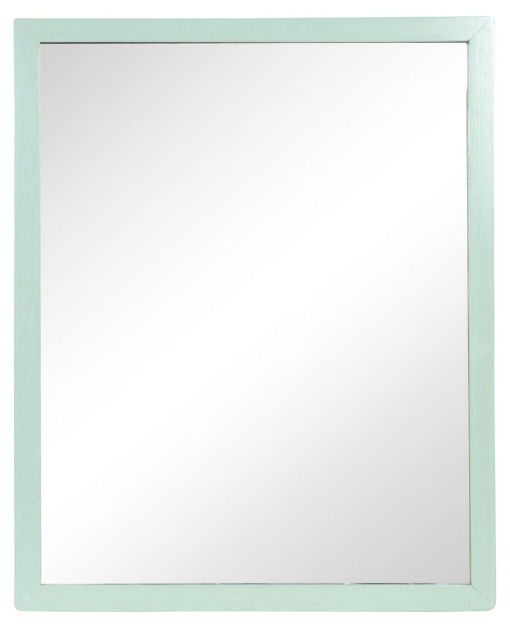 Mirror w/ Pale-Green Wood Frame