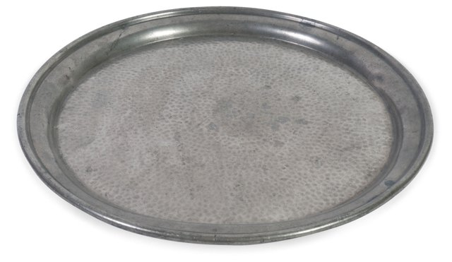 Pewter Tray w/ Hammered Center