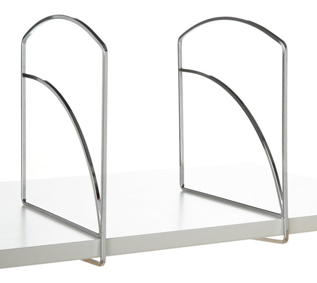 "S/4 Chrome Shelf Dividers, 9.4"" Tall"