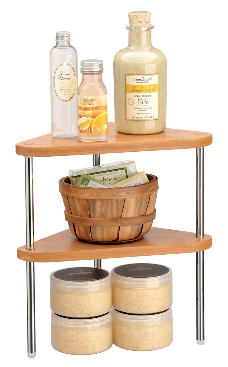 Single Bamboo Stacking Shelf, Corner