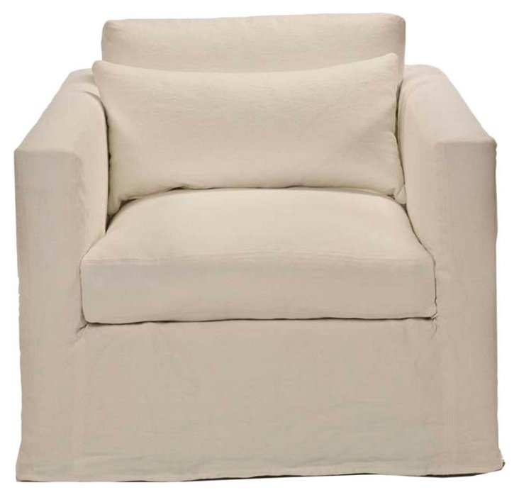 Francis Linen Slipcover Chair, Ivory