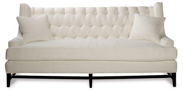 "Eaton 86"" Tufted Linen Sofa, White"