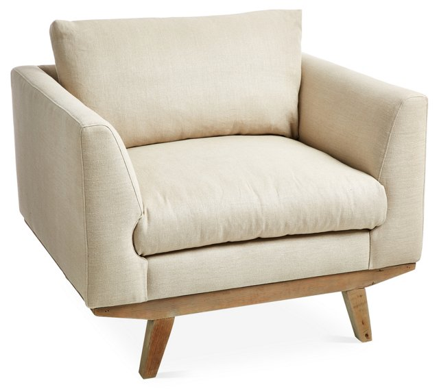 Carmel Club Chair, Oatmeal Linen
