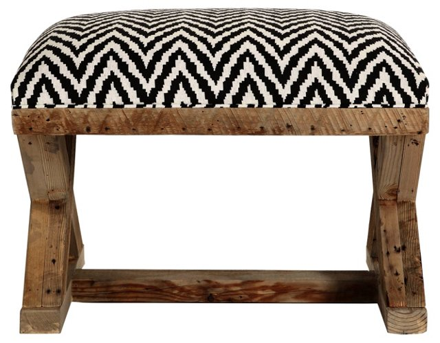 "X-Base 30"" Ottoman, Black/White"