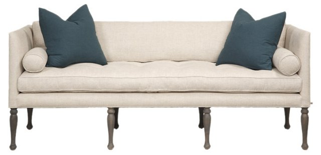 "Orme 90"" Tufted-Seat Linen Sofa, Ivory"