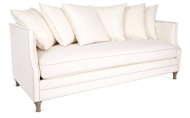 "Dumont 85"" Sofa, White/Gray Linen"