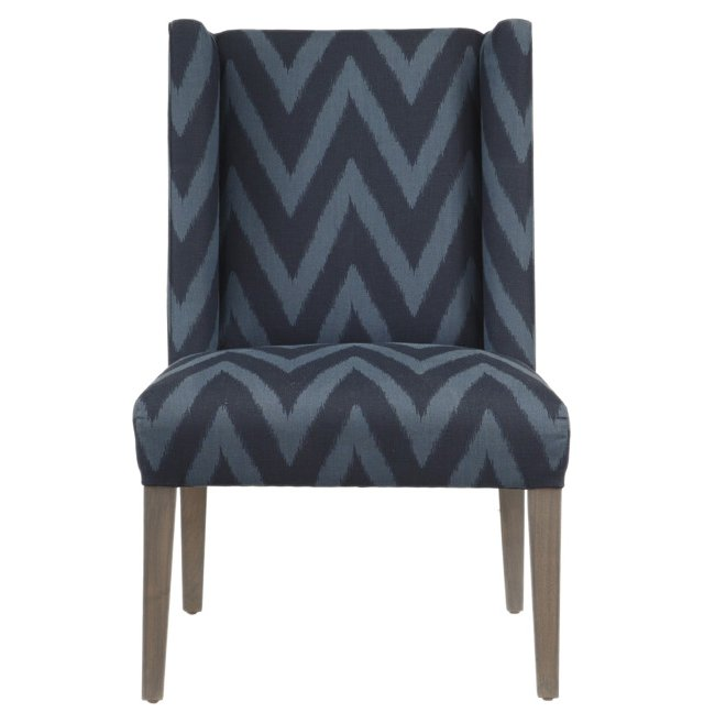 Campbell Chevron Side Chair, Navy/Indigo