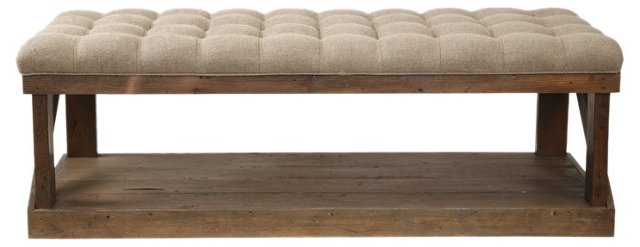 "Wilmington 50"" Tufted Bench, Oatmeal"