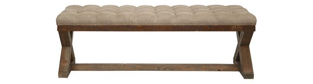 "X-Base 50"" Tufted Bench, Oatmeal"
