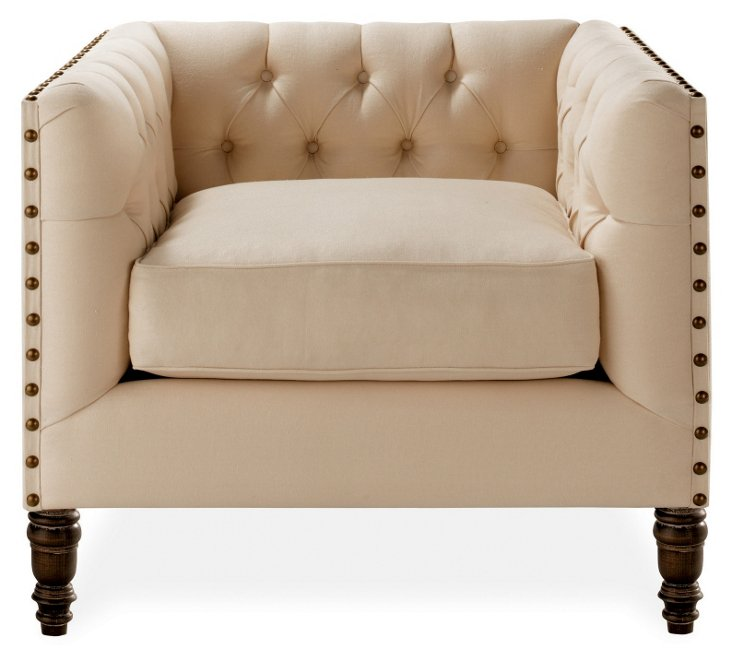 Napa Tufted Linen Club Chair, Cream