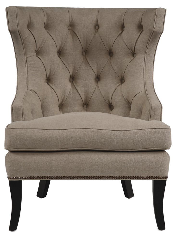 Caitlin Linen Wing Chair, Warm Gray