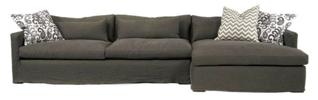 Harlow Linen Sectional, Charcoal